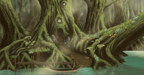 Aurora's Hideout Environment Concept Digital Painting with a Wacom Tablet on Photoshop