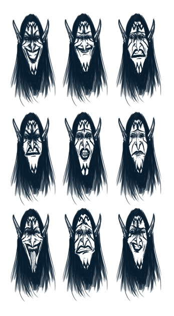 Maleficent Facial Variation Concepts Digital Drawing with a Wacom Tablet on Photoshop
