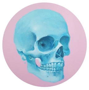 "FOR SALE. 10"" diameter Acrylic on circular canvas."