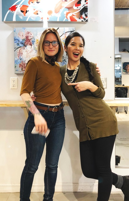 Katrina with Alicia Lumsden, shop owner of Queens Shop Fine Hairdressing Salon.