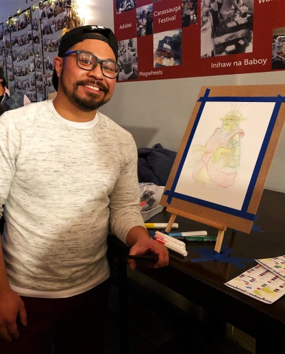 Erwin Gamalinda with his 30 Minute live drawing for FLAG Philippines Charity Fundraise Event at Eskinita Foods