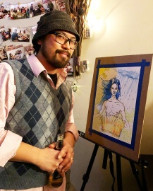 Lester Abarqueza with his 30 Minute live drawing for FLAG Philippines Charity Fundraise Event at Eskinita Foods